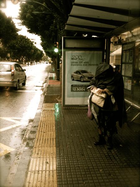 Parada de autobús en Málaga