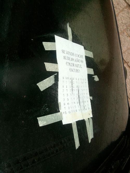 Anuncio para vender el coche