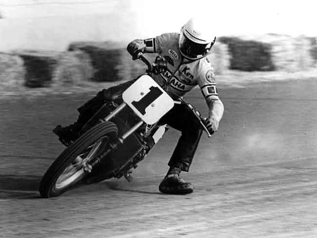 Kenny Roberts doing the dirt-track thing