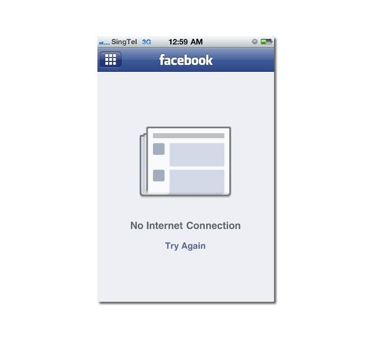 App de Facebook sin conexión
