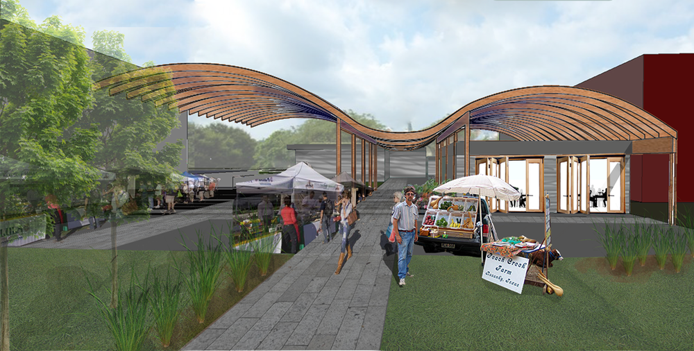 Rendering showing proposed farmers market atop Columbus Museum of Agricultural and Industrial Innovation