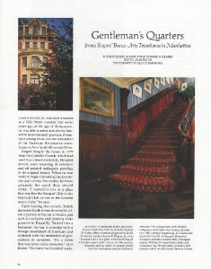 "February 1987   Architectural Digest, ""Gentleman's Quarters: James Rogers' Beaux Arts Townhouse in Manhattan""     Designer: Keith Irvine    Zuber"