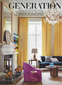 "November 2014    Architectural Digest: ""Generation Next""    Designer: Courtney & Nick Stern    Custom Blue Gracie"