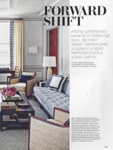 "February 2015    Architectural Digest, ""Forward Shift""    Designer: Stephen Gambrell    Custom Aqua Gracie"