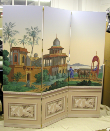 Zuber panoramic with a dado and border screen