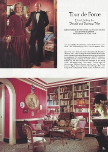 "February 1988  Architectural Digest, ""Tour de Force: Vivid Setting for Donald and Barbara Tober""  Designers: Keith Irvine and Thomas Fleming"
