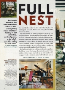 "November 2003  New York Magazine, ""Full Nest""  Designer: Joseph Holtzman"