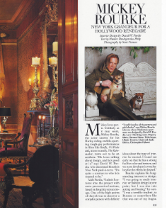 "December 1999  Architectural Digest, ""Hollywood at Home: Mickey Rourke""  Designer: David Purdie  Zuber"