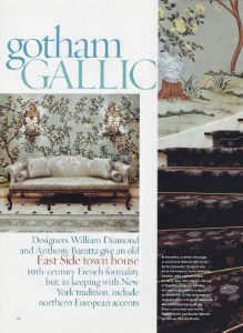 "June 2003  House & Garden, ""Gotham Gallic""  Designers: William Diamond and Anthony Barratta  Gracie Chinoiserie"