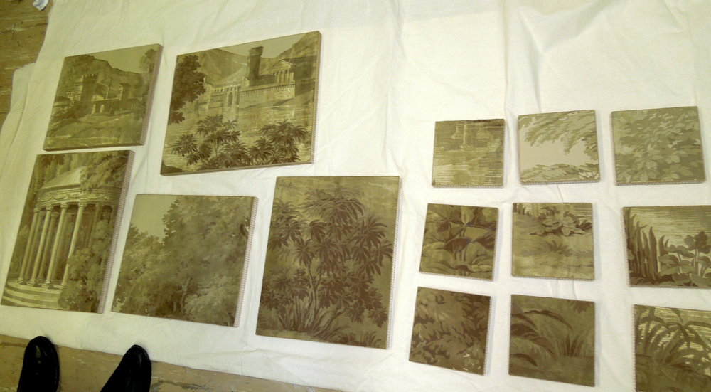 Rescued fragments of Paysage Italien after delamination and installation on boards