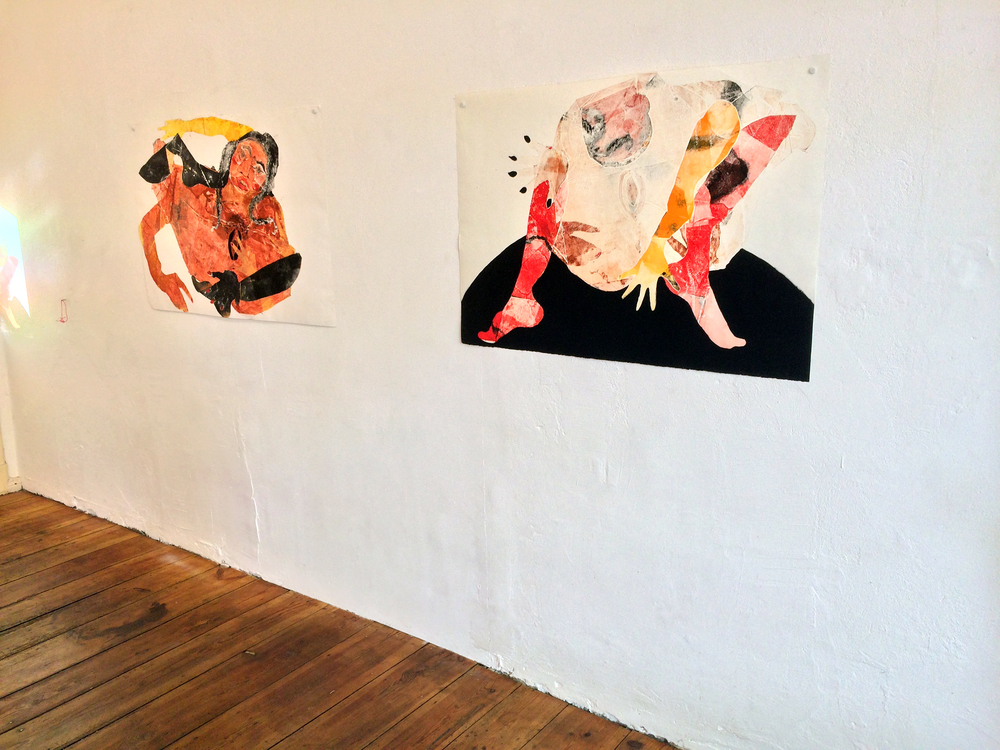 "Tschabalala Self  Head Over Heels  Installation view ""First Sight,"" 2014 and ""Summit,"" 2014 Oil and acrylic on paper"