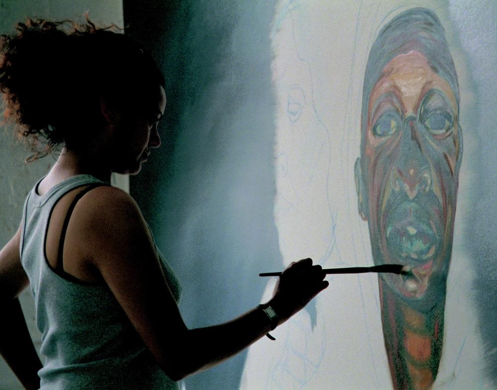 Helen Wilson-Roe in her studio at Mivart Street Studios Bristol 2003