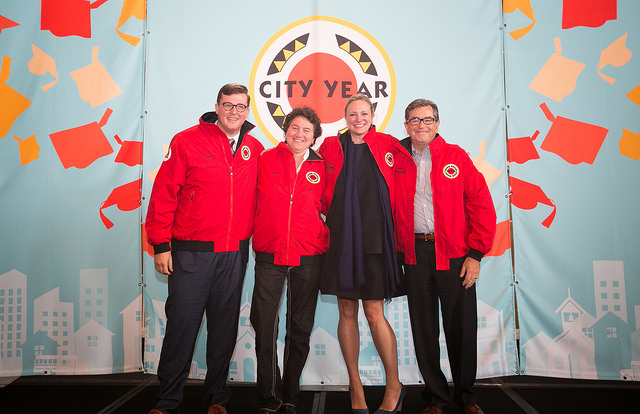 City Year Dallas Board Members (from left to right): Charles Glover, Pam Gerber, Jennifer Sampson, and Mark Rohr