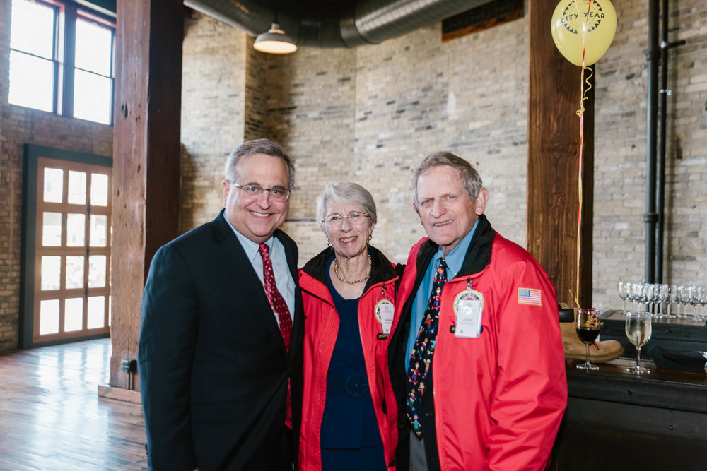 City Year CEO and Co-Founder, Michael Brown with City Year Milwaukee's 6th Annual Dinner Honorees, John and Tashia Morgridge