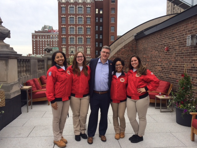 AmeriCorps Members on the Bain Capital Team with Providence Site Board Chair and RJS Chair Andy Viens