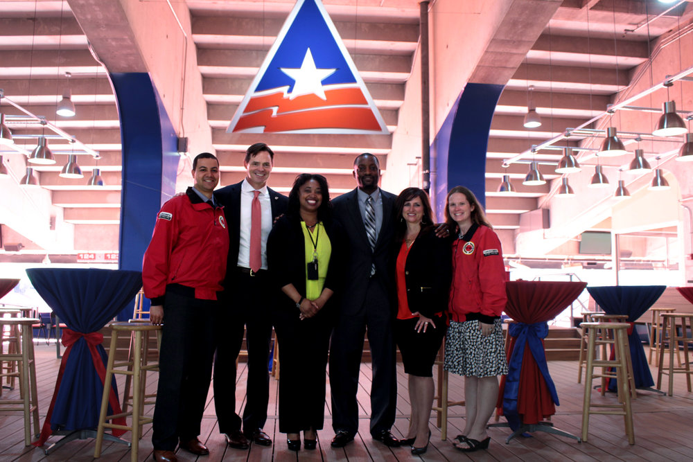Left to right: Jeff Shafer, Development Director of City Year KC, Mark Donovan, President of Kansas City Chiefs & Board Chair for City Year KC, Jessica Bassett, Principal of Northeast Middle School, Dr. Mark Bedell, Superintendent of Kansas City Public Schools, Lisa Ginter, CEO of CommunityAmerica Credit Union & RJS Volunteer Chair for City Year KC, Audra Clark, Executive Director of City Year KC.