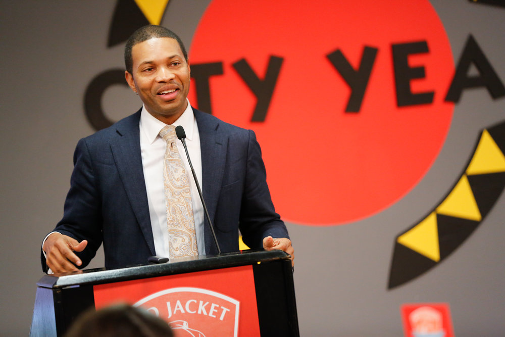 Rahn Dorsey, '90, Chief of Education, City of Boston and City Year Alumnus presenting at the RJS Conference