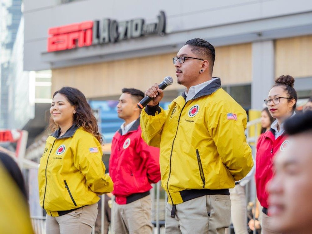 Abraham speaking at City Year Los Angeles's Opening Day