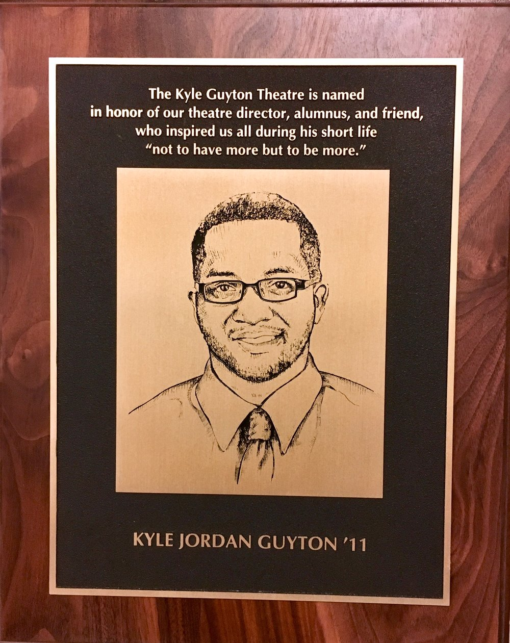 Plaque outside newly dedicated Kyle Guyton Theatre at Chatard