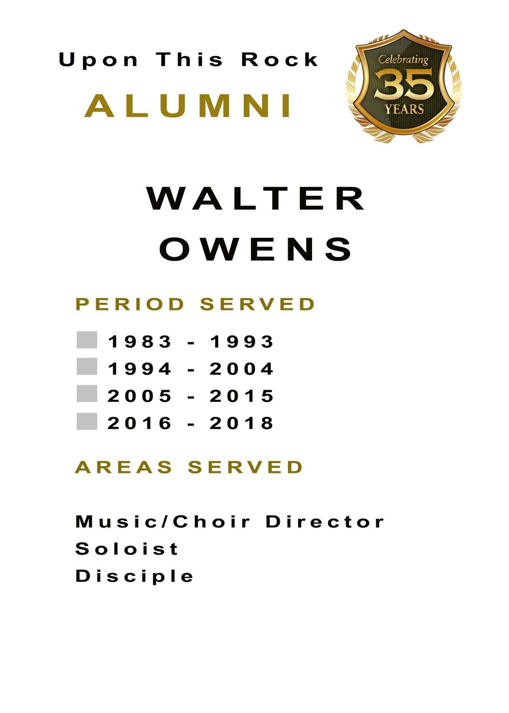 The period served will be marked on the alumni's badge.