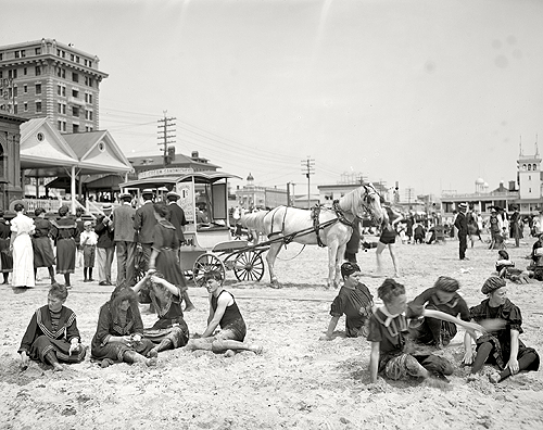 librar-y: The Jersey Shore circa 1905. On the beach, Atlantic City. Down the REAL shore.