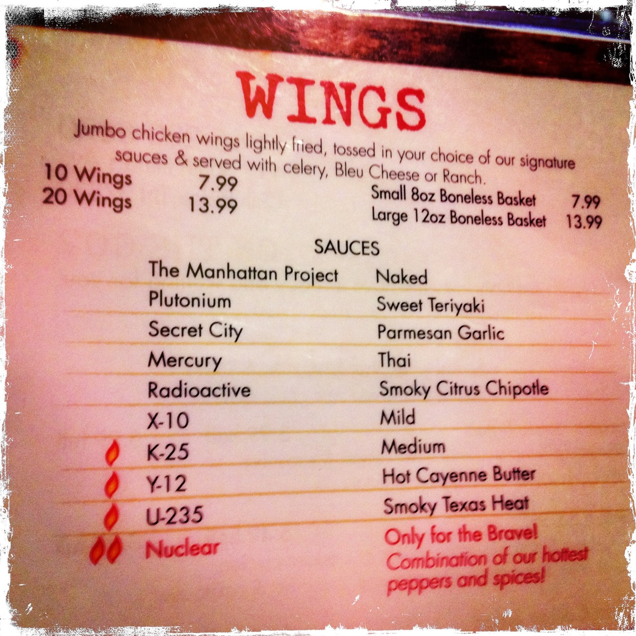 Yay! @LincolnsGrille after day of #atomic & #WW2 history in #OakRidge. #Nuclear wings! Lucifer VI Lens, Kodot XGrizzled Film, No Flash, Taken with Hipstamatic