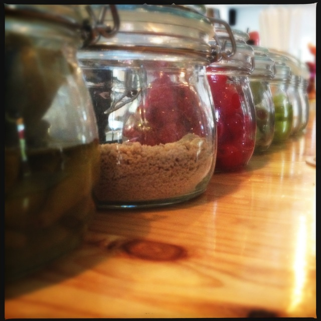 Condiments lined up for inspection @TAP_Asheville. #avleat #picklelove