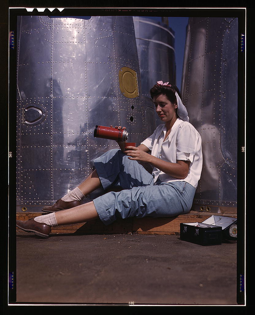 profp :      Time for a coffee break.   Girl worker at lunch also absorbing California sunshine, Douglas Aircraft Company, Long Beach, Calif. (Library of Congress)   Palmer, Alfred T., photographer.  1 transparency : color.   Notes:  Title from FSA or OWI agency caption.  Transfer from U.S. Office of War Information, 1944.