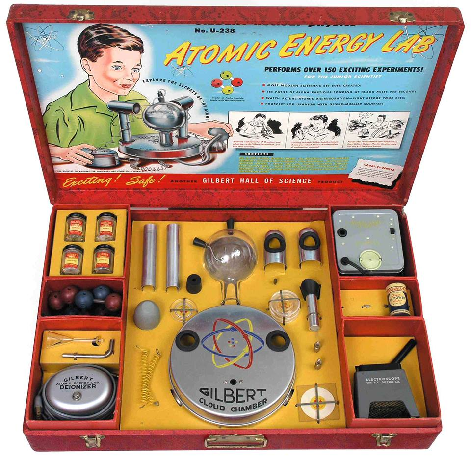 "A friend sent this along knowing I'd love it.    ""In 1951, A.C. Gilbert, inventor of the ERECTOR set, released the U-238 Atomic Energy Lab. Using real radioactive materials, one could witness mist trails created by particles of ionizing radiation.     The set included four Uranium-bearing ore samples, and originally sold for $49.50, and one could order replacement radioactive materials.   Note: Geiger Counter sold separately."""