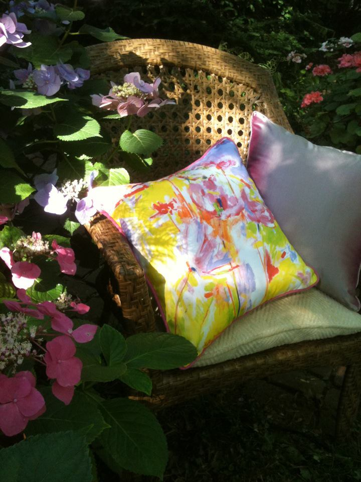 """Cosmos"" Pillow on the patio"