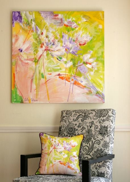 """Pink Monday"" original painting with pillow"