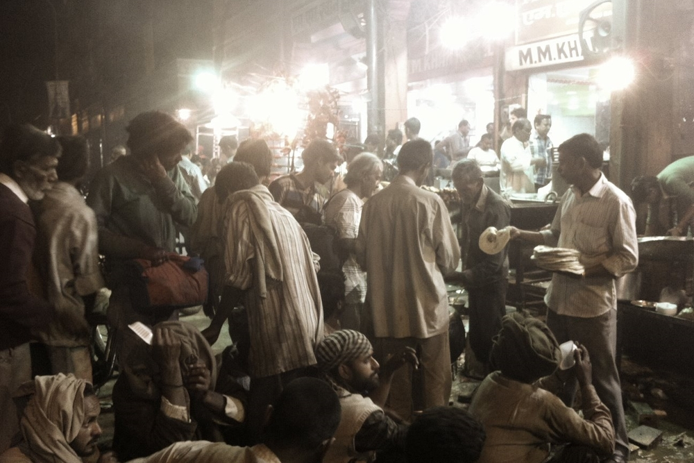 The poor waiting for their meal in the Pink City, Jaipur.