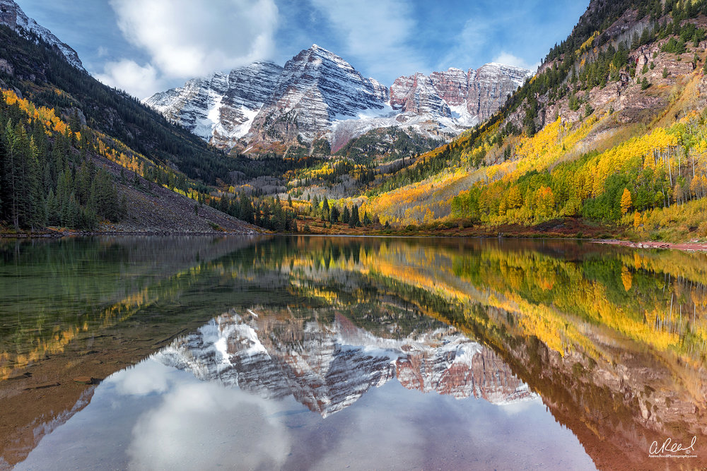 The Crown - Maroon Bells, CO - Canon 5Dsr, Canon 24-70mm f/2.8 II, Nisi V5 Filter Holder, Nisi CPL and Nisi Nano 3 IRND .9 Filter used together to penetrate part of the reflection at the very bottom of the scene and manage the highlights in the sky and the snow on the mountain.