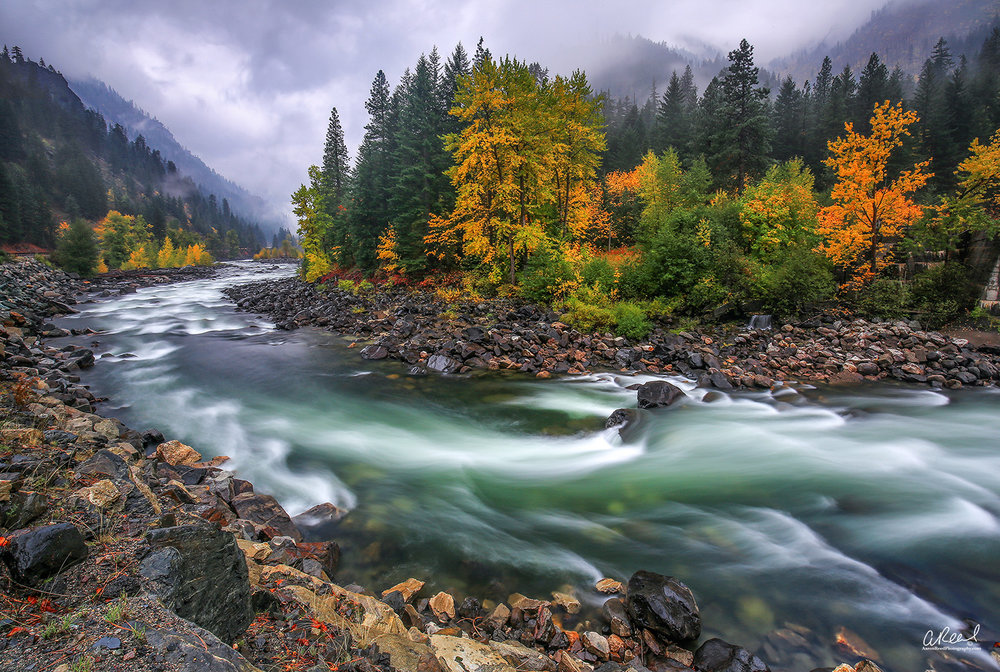 """""""Tumble Rumble Ramble"""" - Leavenworth, WA -Canon 5DMK3, Canon 16-35mm f/4 IS, 3 stop solid neutral density and 3 stop graduated neutral density used together for this 8 second exposure."""