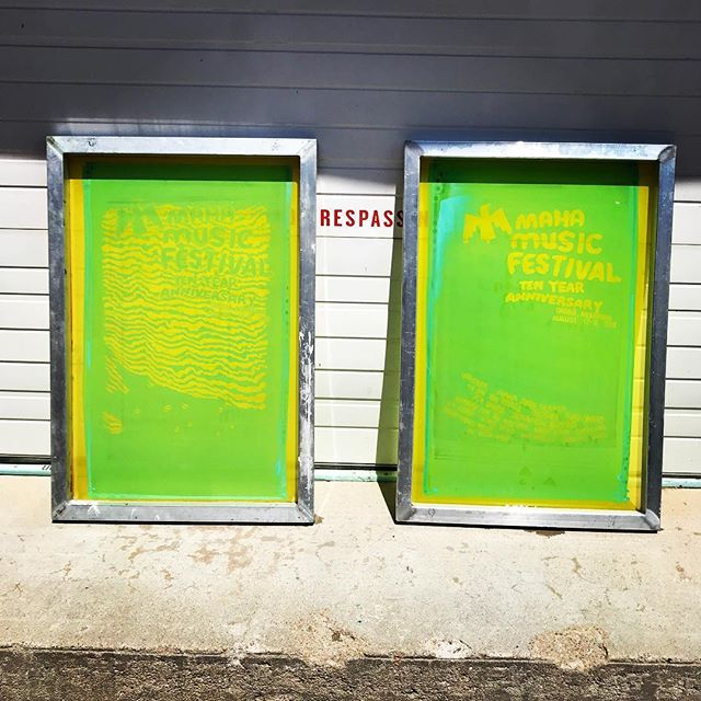 Come back ☀️. Our screens dry so much faster with your presence.  Throwback summer photo from printing the epic Maha Music Festival's 10 year anniversary gig posters.  #screenprinting #silkscreen #gigposter #artprint #mahamusicfestival #omaha @mahafestival