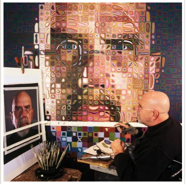"Chuck Close working on ""Self-Portrait"" (2004-2005), Photo: Michael Marfione"