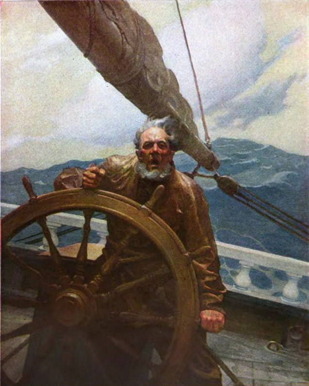 """Sea captain in storm"" N.C. Wyeth"