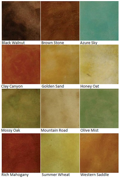 Color Charts Custom Coatings Concrete Floor Finishes