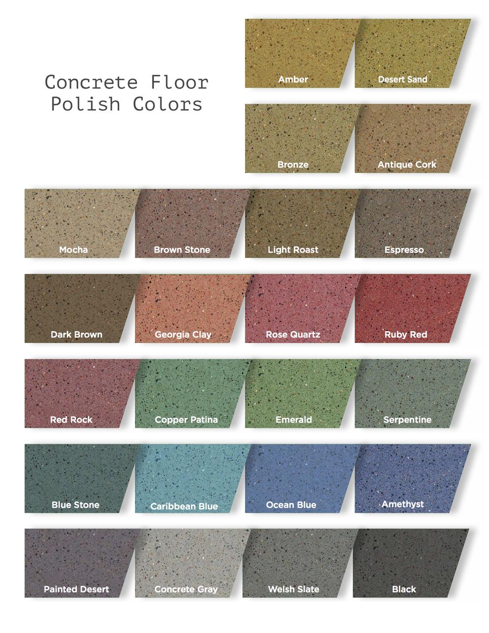 Concrete Floor Polish Color Chart - Custom Coatings