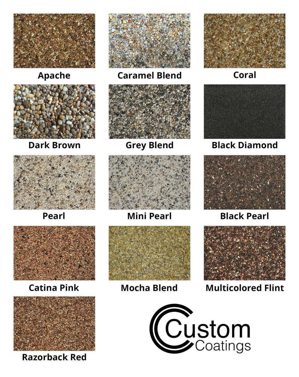Epoxy Pebble Stone Color Chart