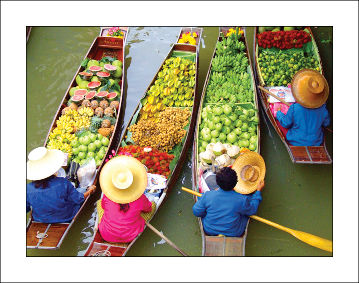 The most famous of the floating markets is Damnoen Saduak, about 62 miles southwest of Bangkok. This buzzing market is at its best in the early morning before the crowds arrive and the heat of the day builds up. The colorfully clad merchants at these lively markets paddle along congested canals in sturdy canoes laden with fresh fruit and vegetables to sell to shoppers on the banks. There is lots of chatter and activity – bargaining is common – that's all part of the fun -- but don't expect to get the price down more than a few baht