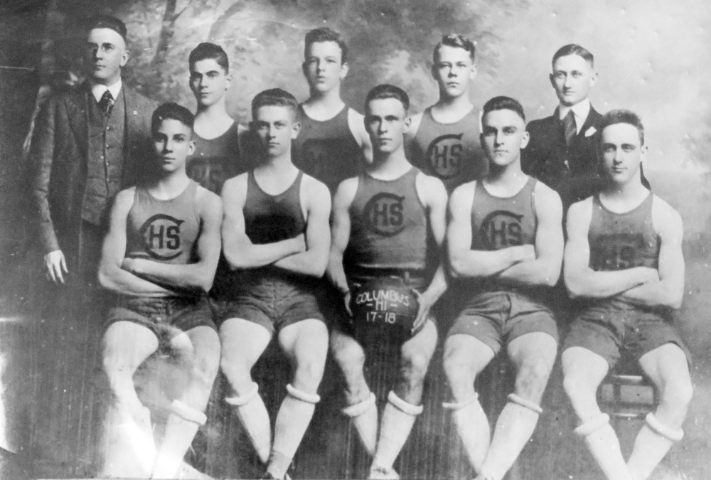 Columbus High 1918 Basketball Champions. FRONT ROW: Mark Rosenberg, Bunn Martin, Hal Campbell, Kenneth Munn, Jack Key. BACK ROW: Coach D.W. Johnston, Jack Kaufman, Joe Blackmon, William Chambers, and Manager Willie McCraney.