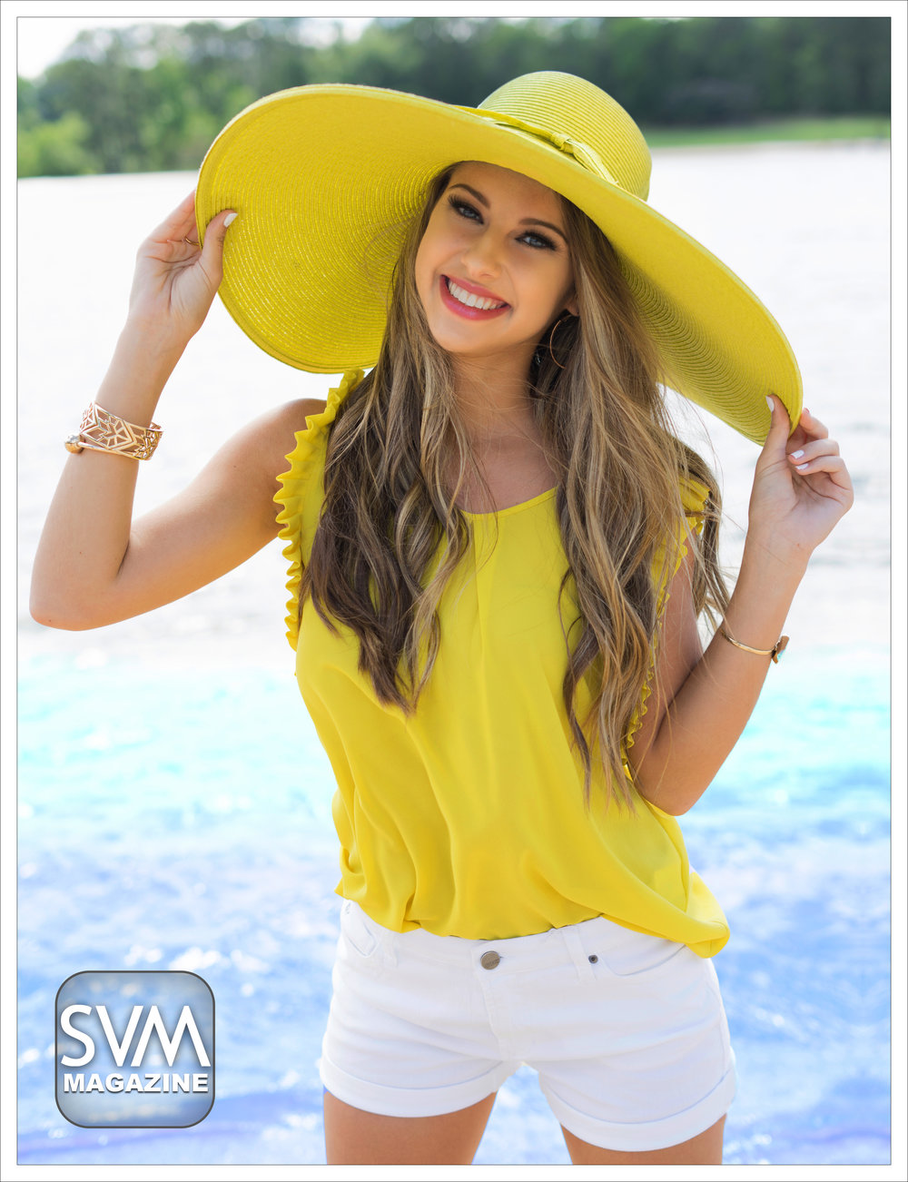 "Rainy day at the beach? No problem! Shine bright in this ""Shining So Bright"" top by Holly Bracken from Dear Stella Boutique. Pair it up with the ""Citron Braided Brim Hat"" by San Diego Hat Co. from Dear Stella Boutique and your favorite gold accessories to really make a statement!"