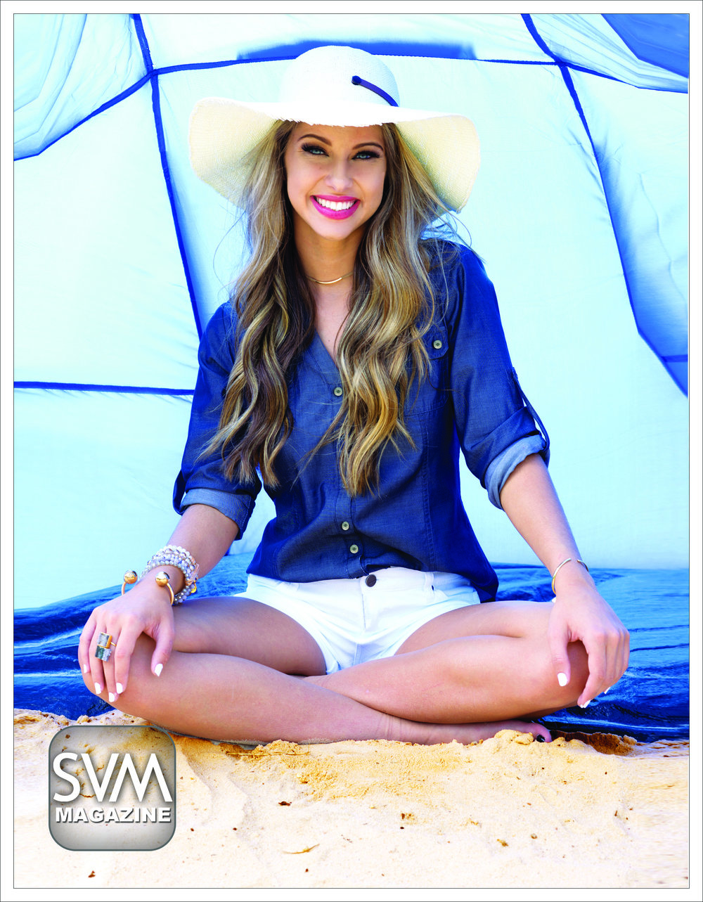 "This laid-back look offers comfort and style with a blue denim shirt by Ralph Lauren and white denim shorts by Dear John from Dear Stella Boutique. Want to stay in the sun all day? Give yourself a little extra shade by wearing this ""Four Buttons Packable Sunbrim Hat"" by San Diego Hat Co. from Dear Stella Boutique. Don't forget to accessorize with a simple gold necklace, funky rings and gold bracelets to add some flare."