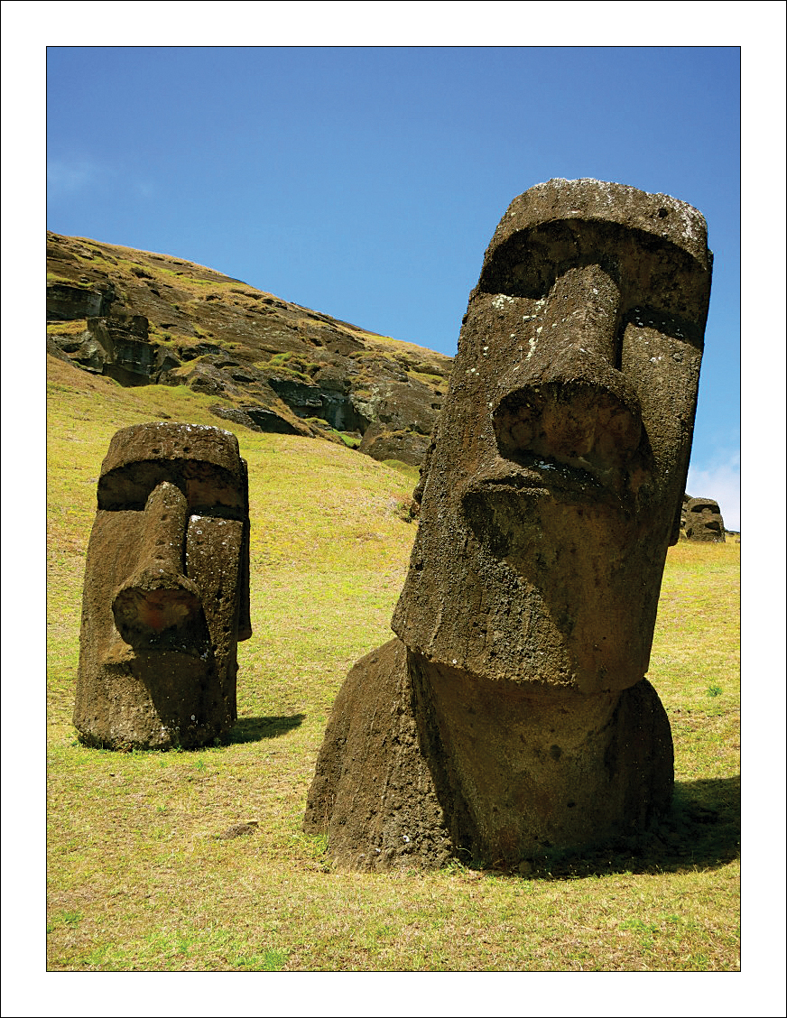 Easter Island, officially a territory of Chile, lies far off in the Pacific Ocean, roughly halfway to Tahiti. It is most famous for its enigmatic giant stone statutes, built centuries ago.