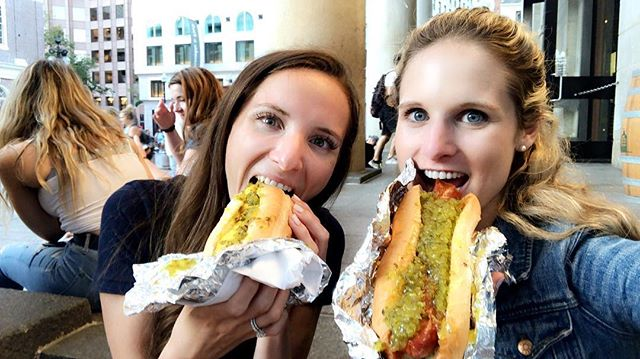 a brunette + a blonde with an incredible 🌭 bond. #nationalhotdogday #tourists