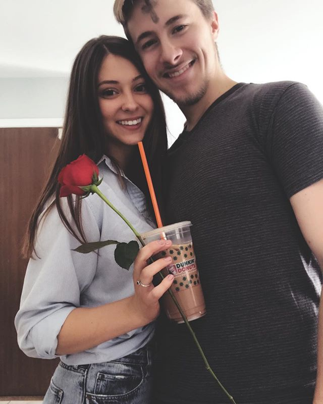 I'm not big on Valentine's Day, but Ted came home with an iced coffee and a rose 😍 he knows the way to my heart! Also, the cross on his forehead is because it's also Ash Wednesday ✨