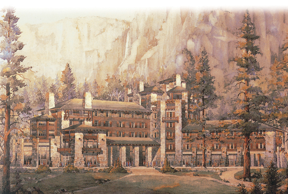 Architect Gilbert Stanley Underwood's 1925 representation of The Ahwahnee depicts a building that blends in with its environment. He completed several project for National Park Service, developing fluency in an architectural vernacular for the parks that culminated in The Ahwahnee. Note his intended entrance for the hotel at right, a passageway now occupied by The Ahwahnee Lounge. Photograph courtesy of Delaware North Corporation.