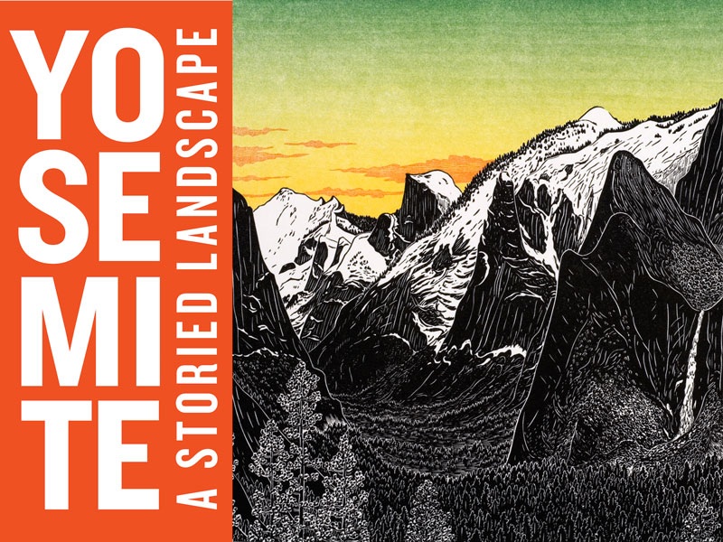 "YOSEMITE: A STORIED LANDSCAPE WON A 2015 DIGITAL BOOK AWARD FOR DESIGN. One judge wrote:  The cover of Yosemite: A Storied Landscape is memorable, beautiful, and demands to be engaged with,"" wrote one of our judges. ""The bold typeface against what appears to be an inky woodcut mountain range creates a striking effect that owes more to manga than any conventions of what a book about a national park ""should"" be. This cover effortlessly communicates that it is *not* just a digital manifestation of a pretty coffee-table book. Illustration by Thomas Killion"