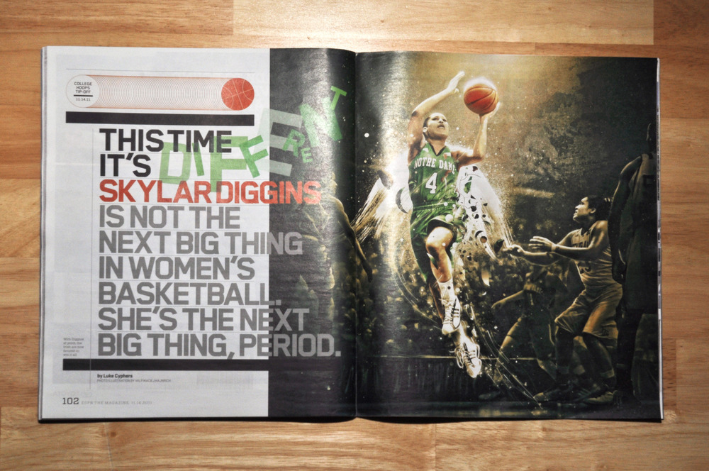 ESPN The Magazineeditorial illustration featuring Skylar Diggins.